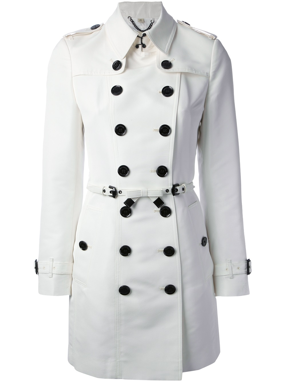 lyst burberry double breasted trench coat in white. Black Bedroom Furniture Sets. Home Design Ideas