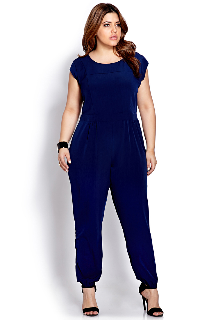 Lyst Forever 21 Sophisticate Cutout Jumpsuit In Blue