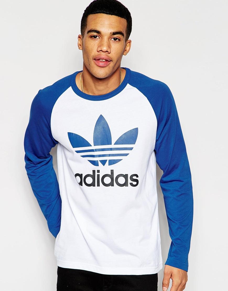 Adidas originals Long Sleeve Raglan Tshirt Aj6957 in Blue for Men