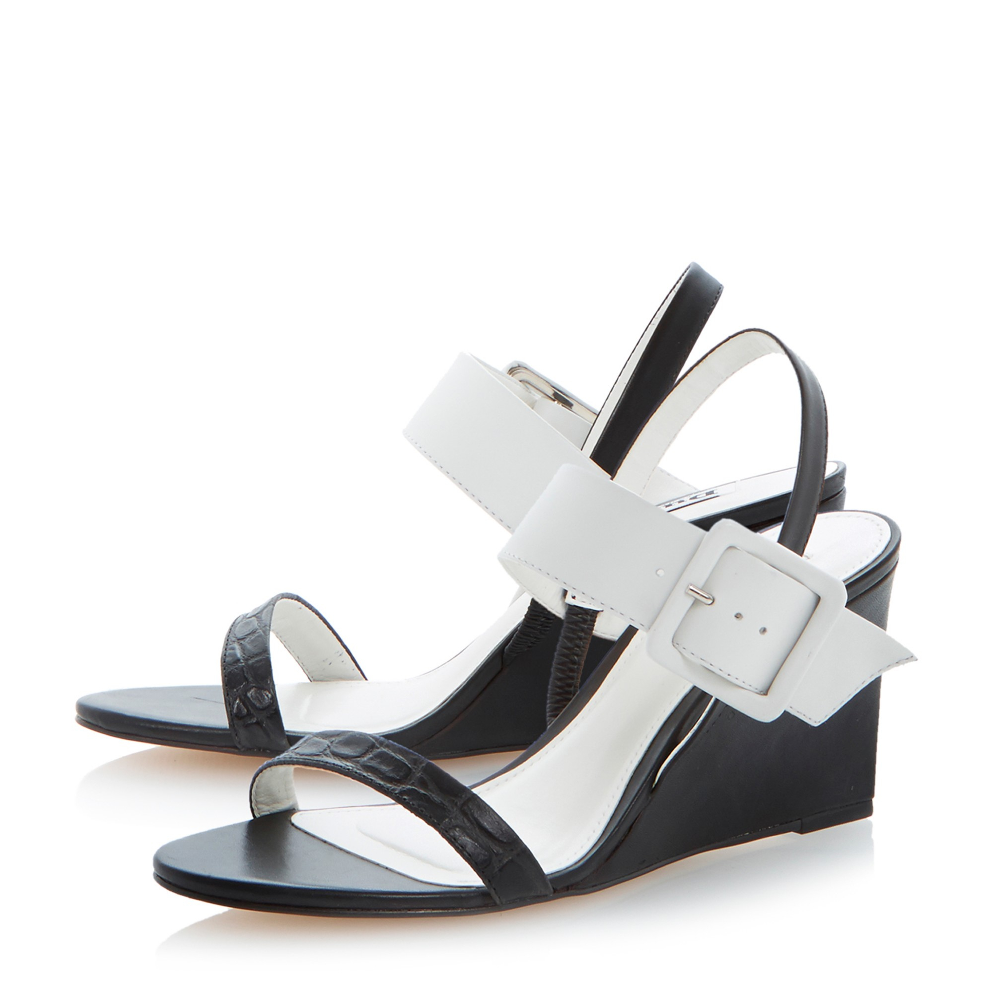 dune hanny large buckle wedge sandals in black lyst