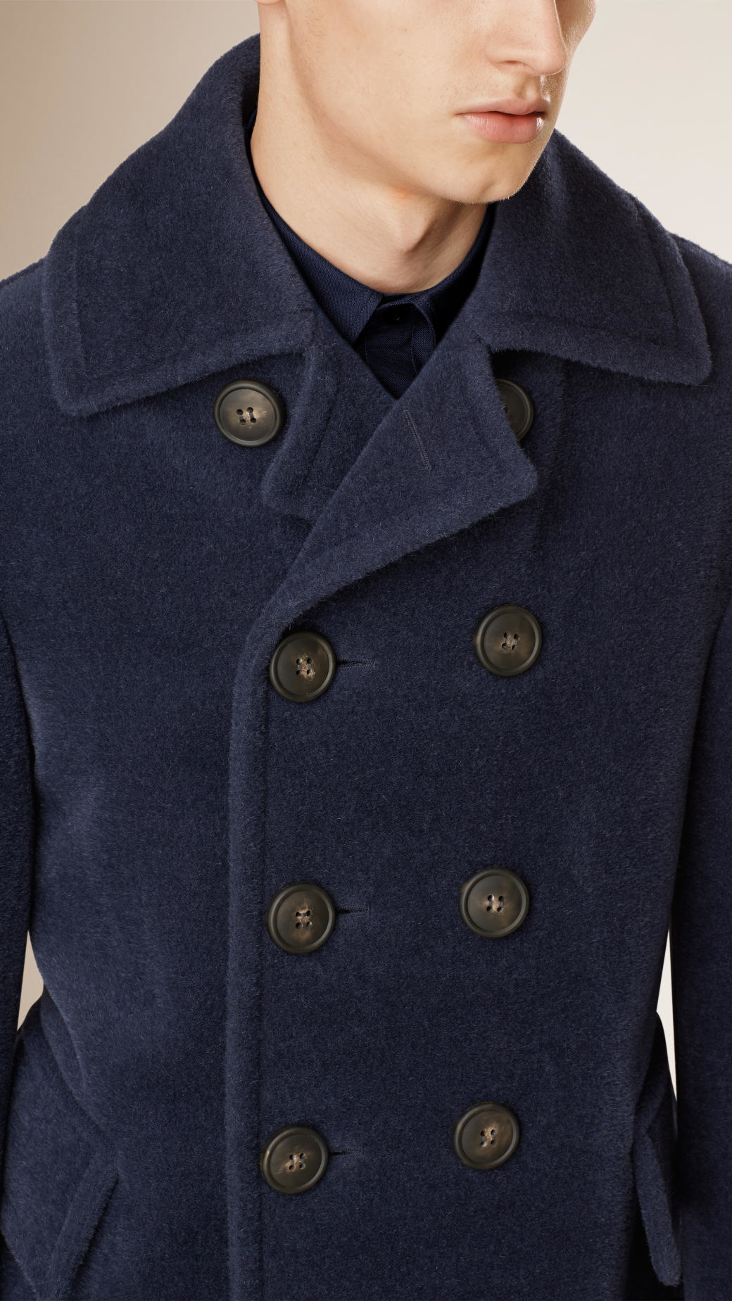 Burberry Wool Pea Coat in Blue for Men | Lyst