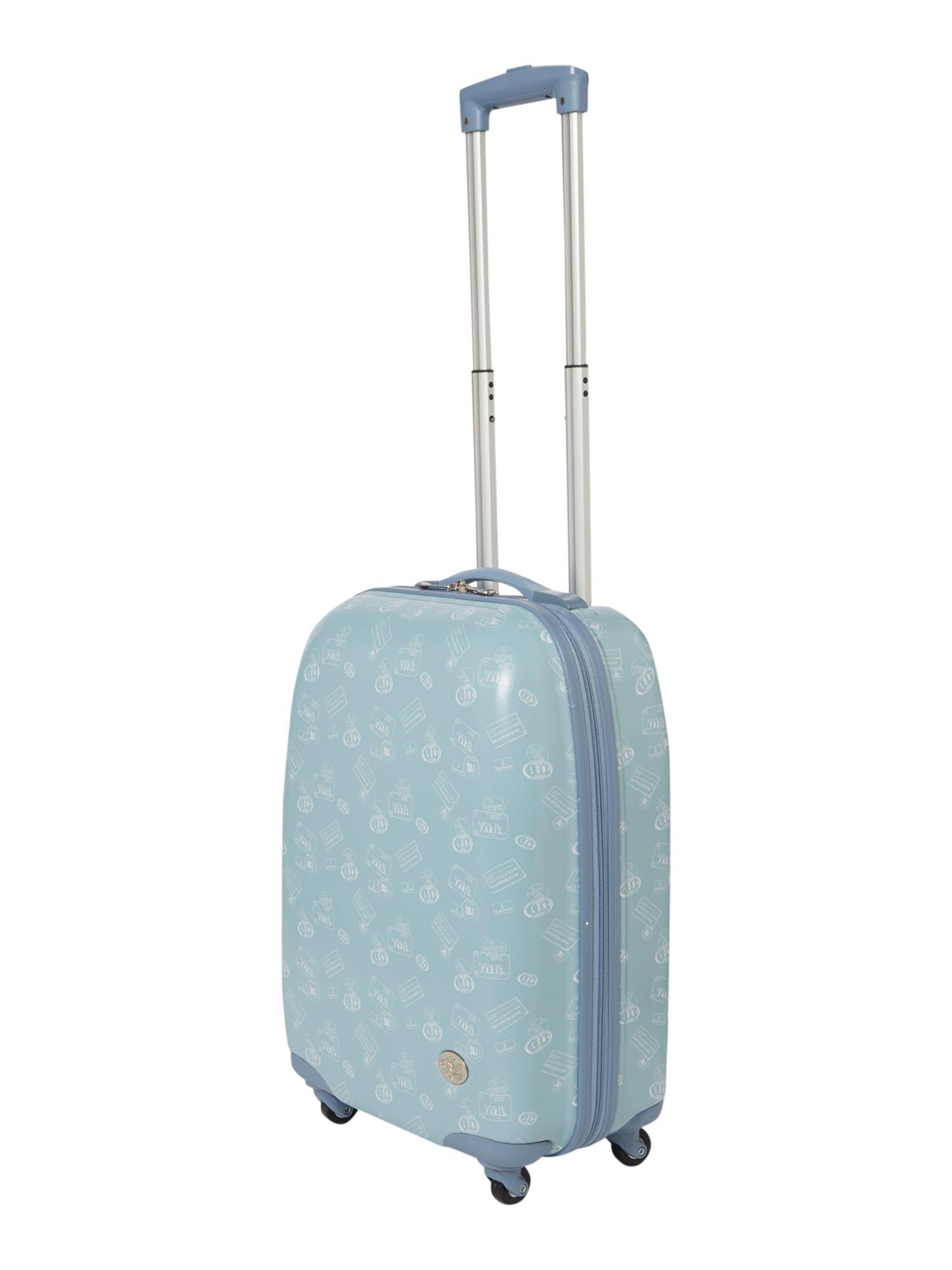 Dickins & jones Travel Print Blue 4 Wheel Hard Cabin Suitcase in ...