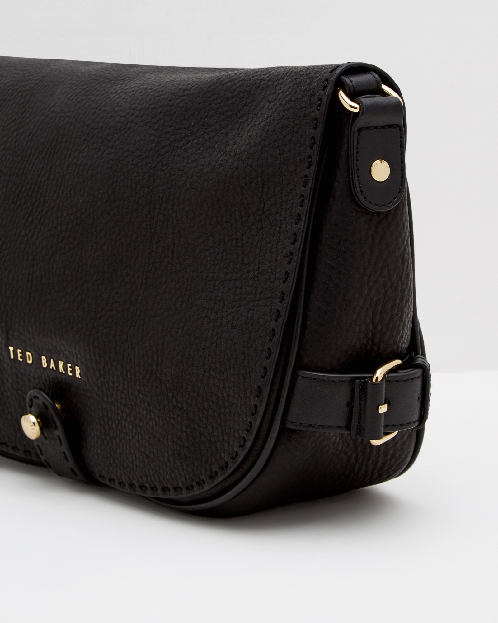 4b6669fb8a0c Lyst - Ted Baker Leather Crossbody Saddle Bag in Black