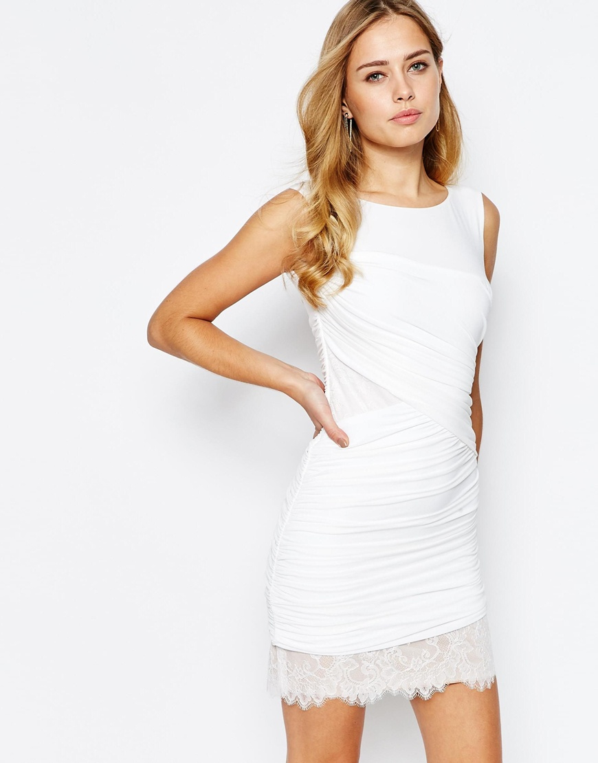 lyst bcbgmaxazria clio ruched dress in white white in white. Black Bedroom Furniture Sets. Home Design Ideas