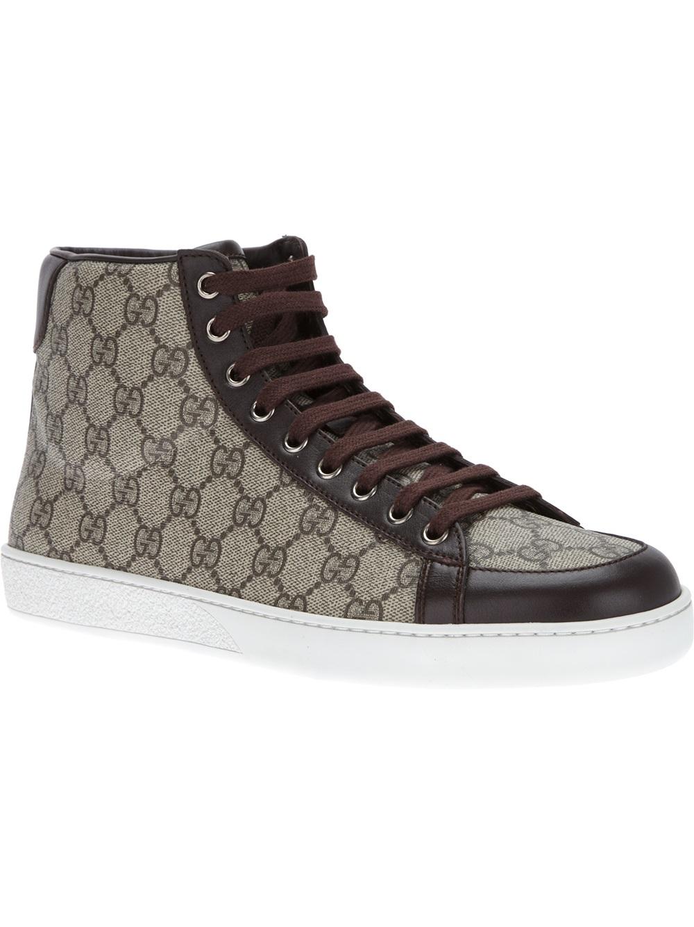 0681b400fa2 Lyst - Gucci Monogram Hi-Top Sneaker in Black for Men
