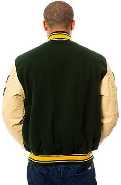 Schott Nyc The Vintage Wool Varsity Jacket In Green For