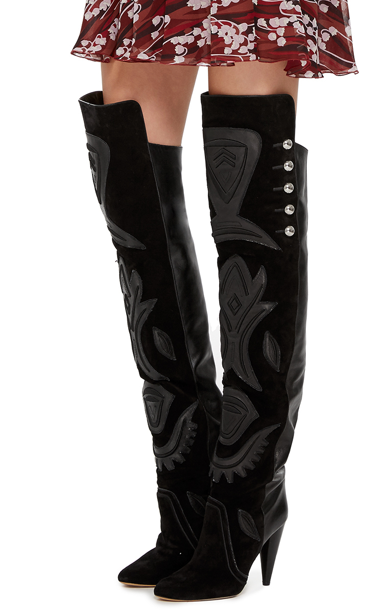 afaabbb8884 Isabel Marant Black Leather Becky Over The Knee Boots in Black - Lyst