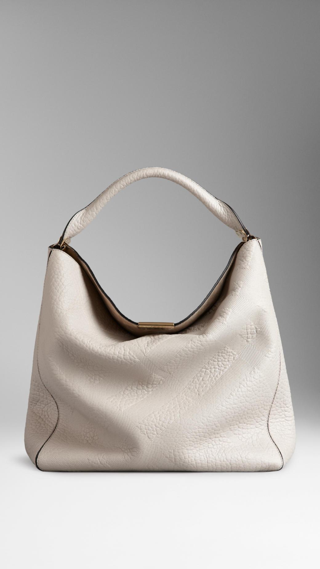 e163ecda3fc0 Lyst - Burberry Medium Embossed Check Leather Hobo Bag in White