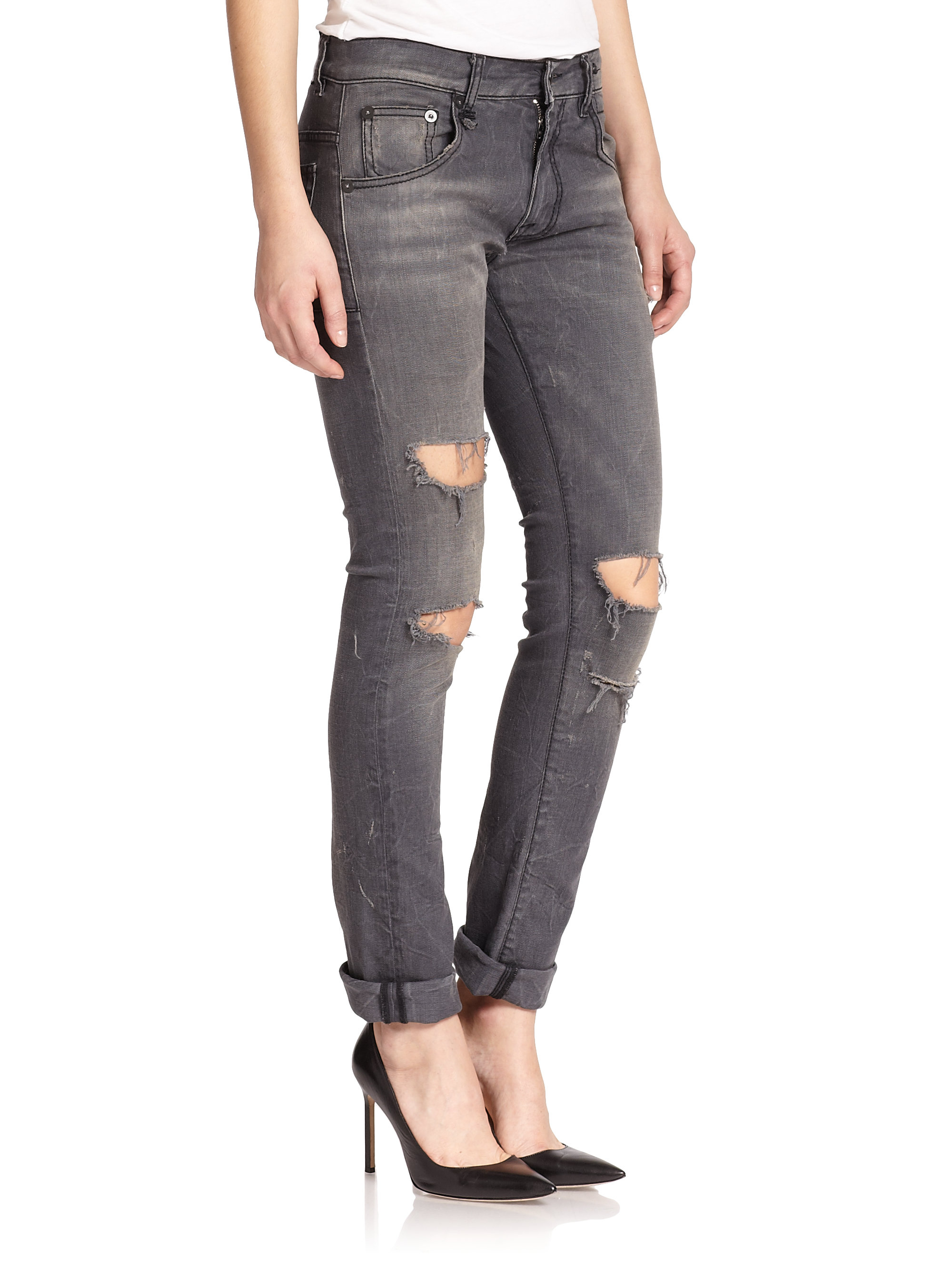 R13 Distressed Skate Jeans in Gray | Lyst