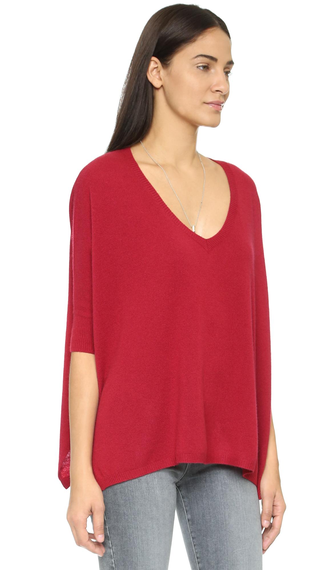 Minnie rose Boyfriend Cashmere Sweater in Red | Lyst