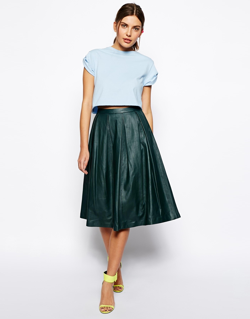 Asos Premium Full Midi Skirt In Leather in Green | Lyst