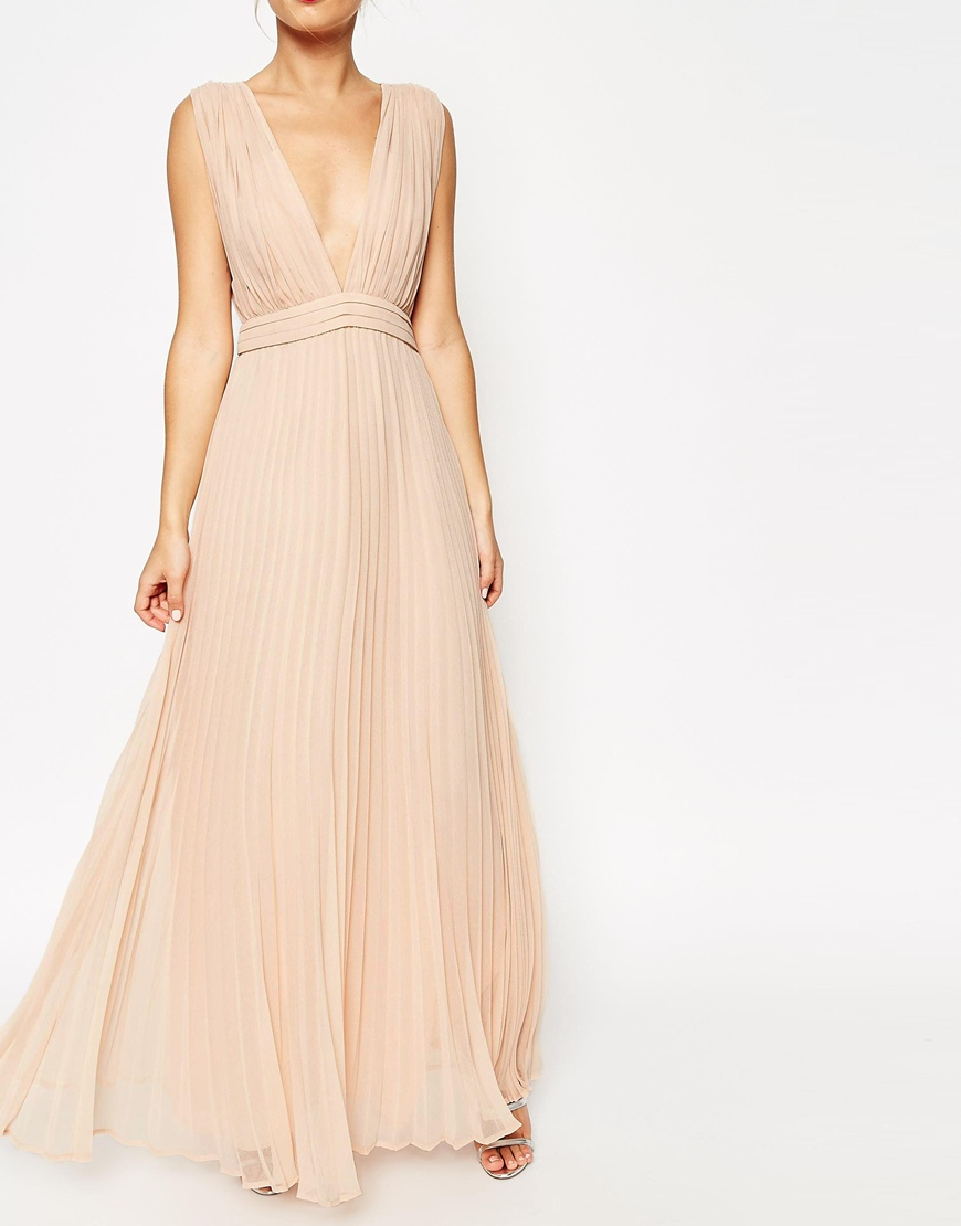 Lyst asos wedding deep plunge super full pleated maxi for Maxi dress at wedding
