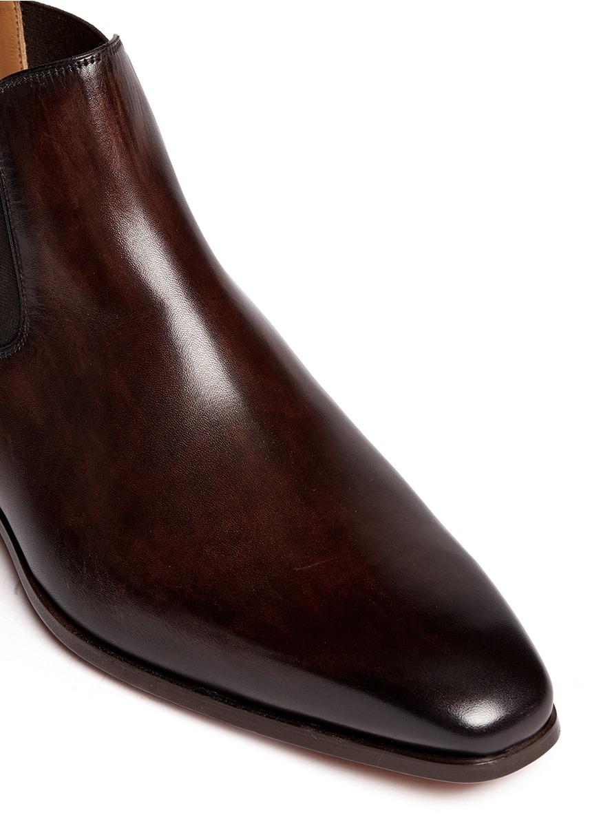 lyst saks fifth avenue burnished leather chelsea boots. Black Bedroom Furniture Sets. Home Design Ideas