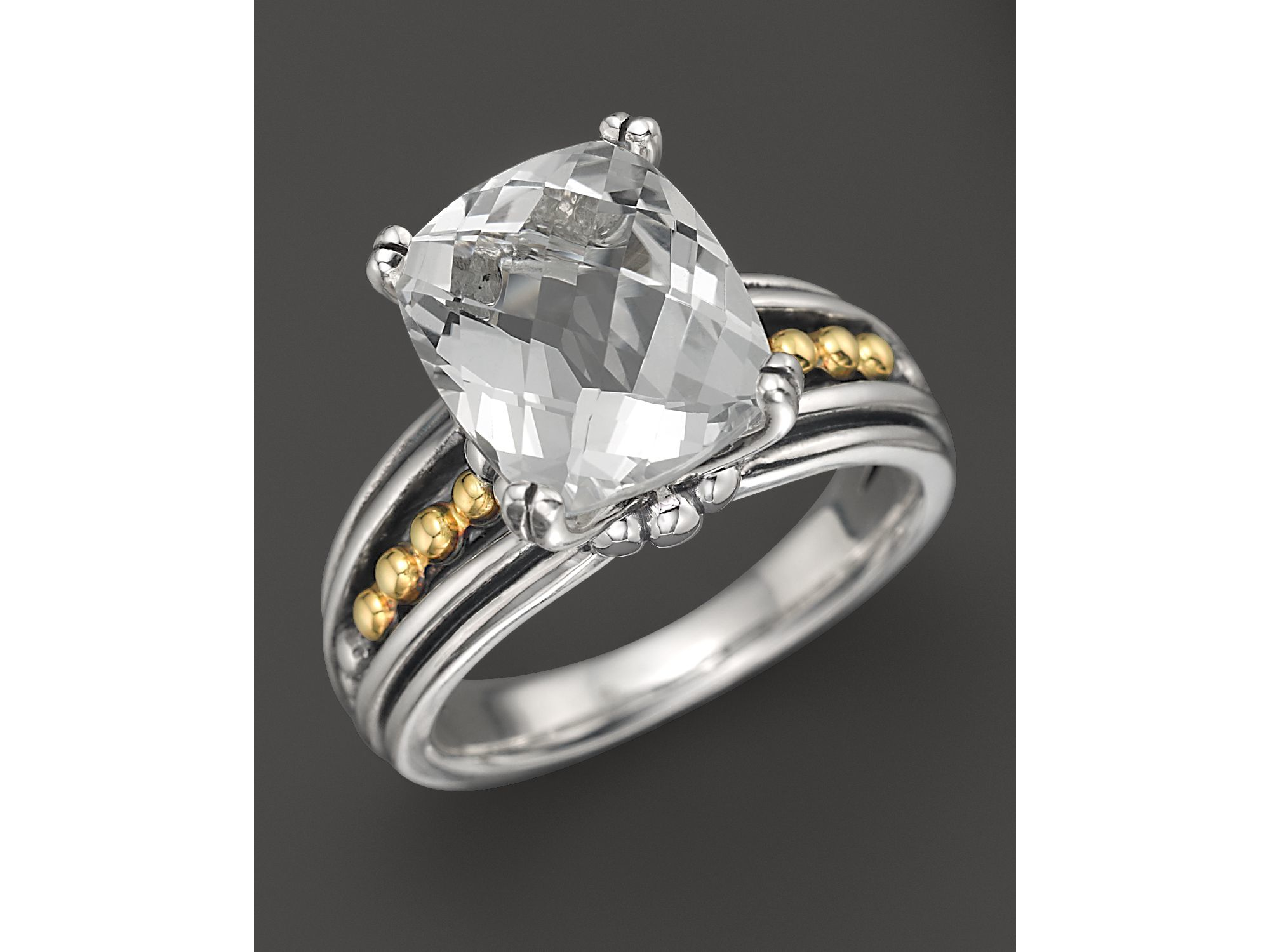 lagos 18k gold and sterling silver prism white topaz ring
