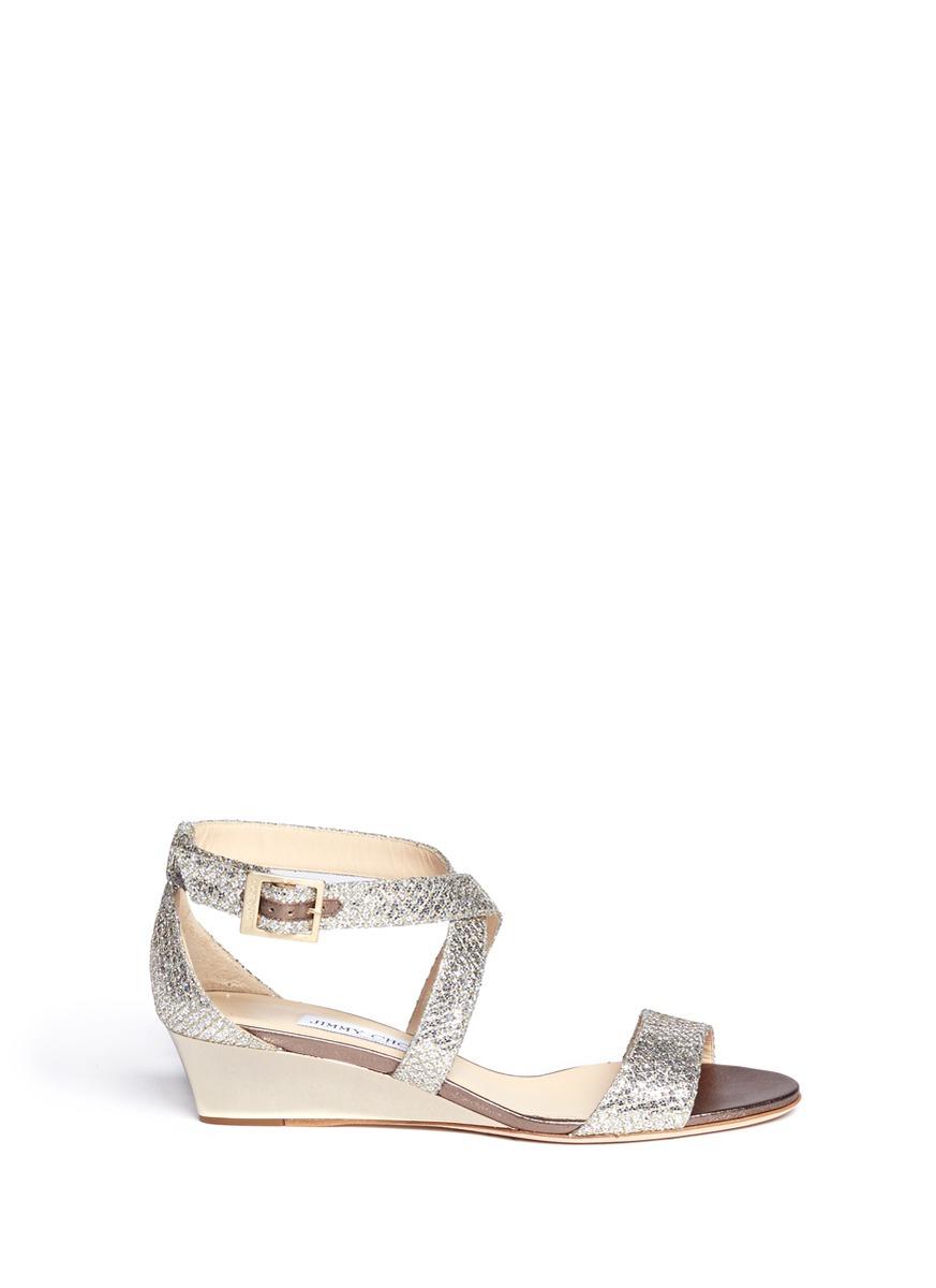Lyst Jimmy Choo Chiara Glitter Wedge Sandals In Metallic