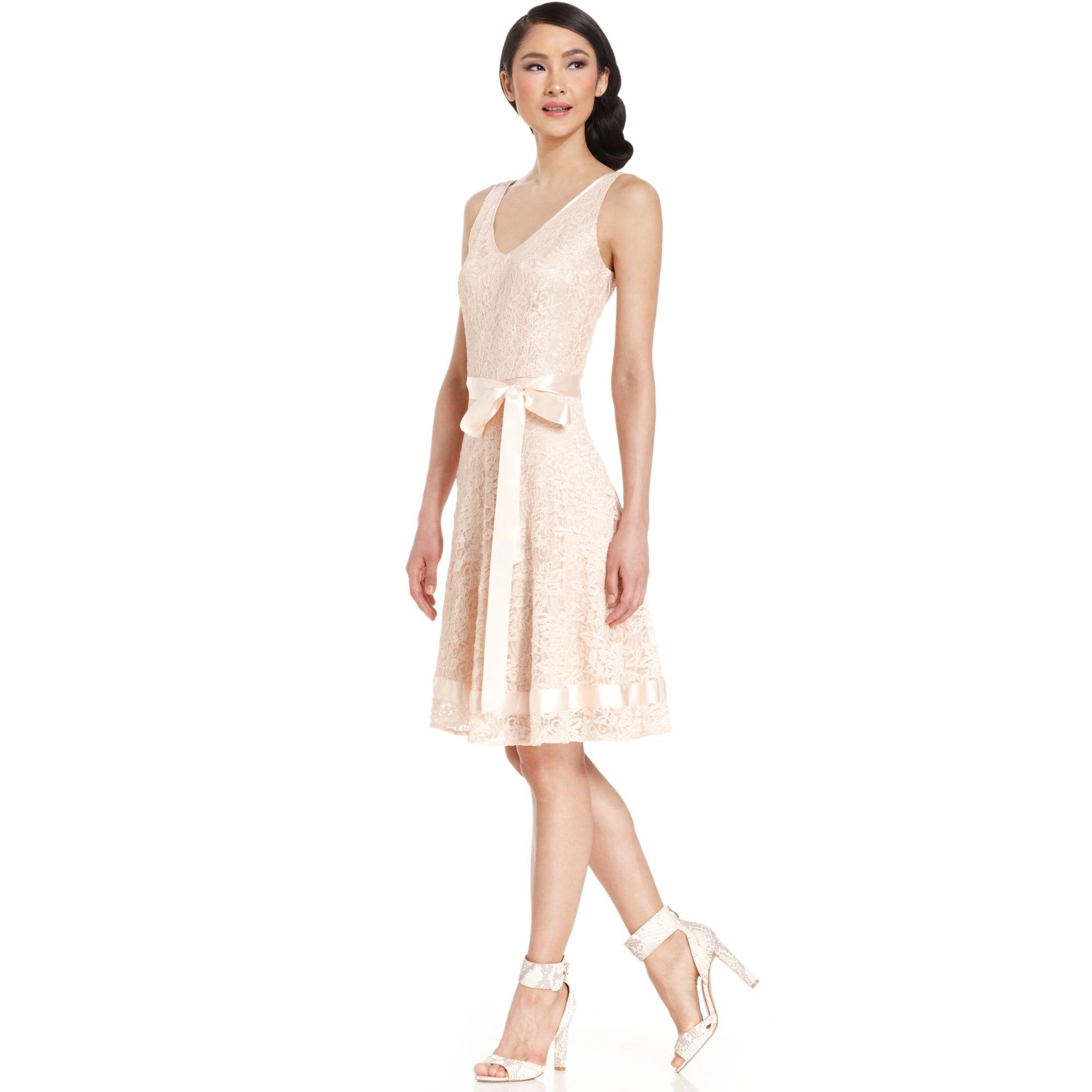 Tahari By Asl Sleeveless Lace Ribbontrim Dress In Beige