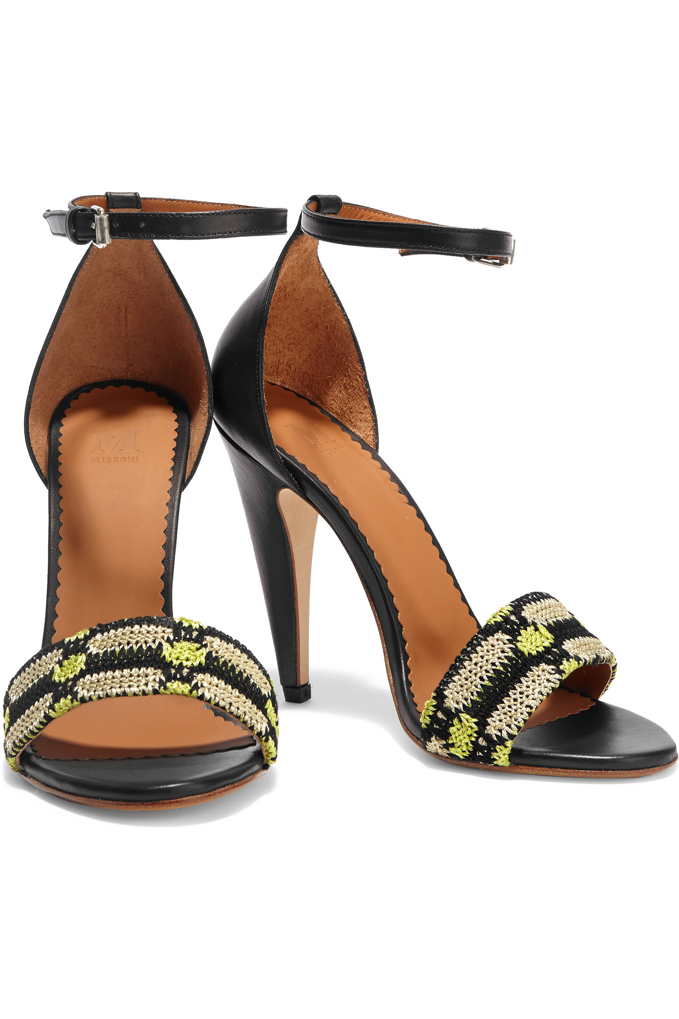 db54a8532ec M Missoni Crochet-knit And Leather Sandals in Black - Lyst