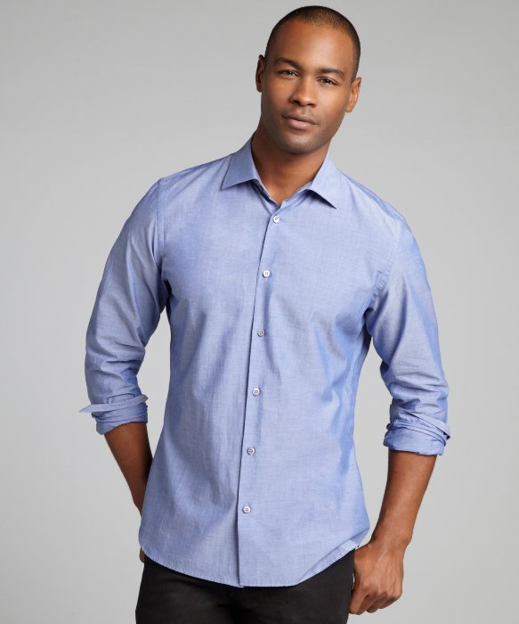 Prada Medium Blue Cotton Spread Collar Dress Shirt in Blue for Men ...