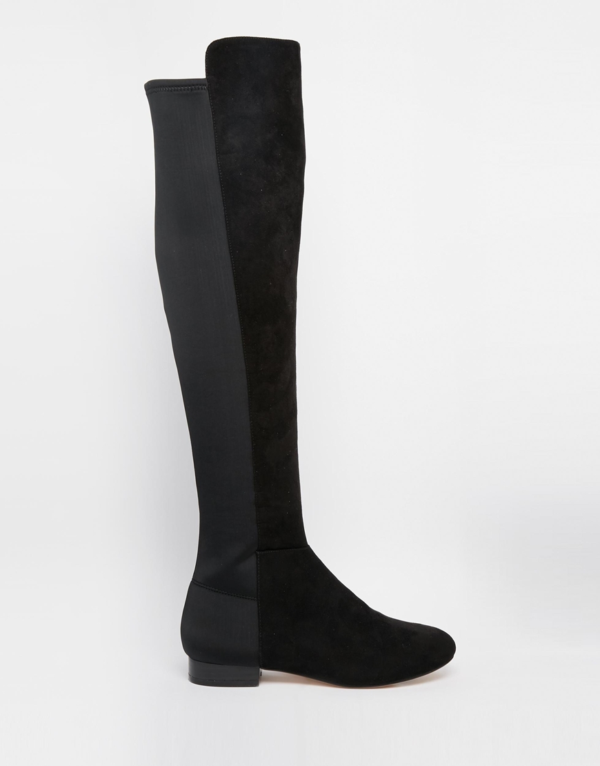 8a35654713c Lyst - ASOS Knightly Flat Over The Knee Boots in Black