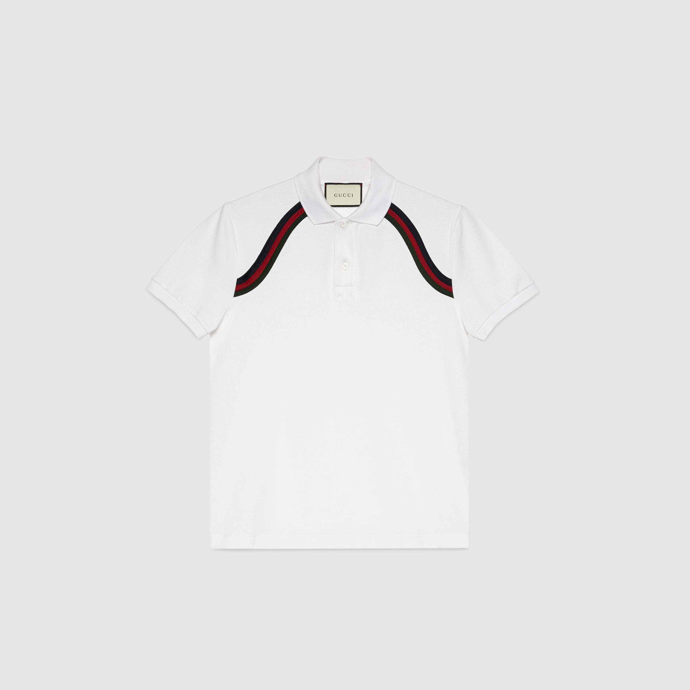 f4cb8b823 Gucci Cotton Polo With Web in White for Men - Lyst