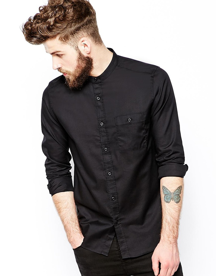 Asos Shirt In Long Sleeve With Grandad Collar In Black For
