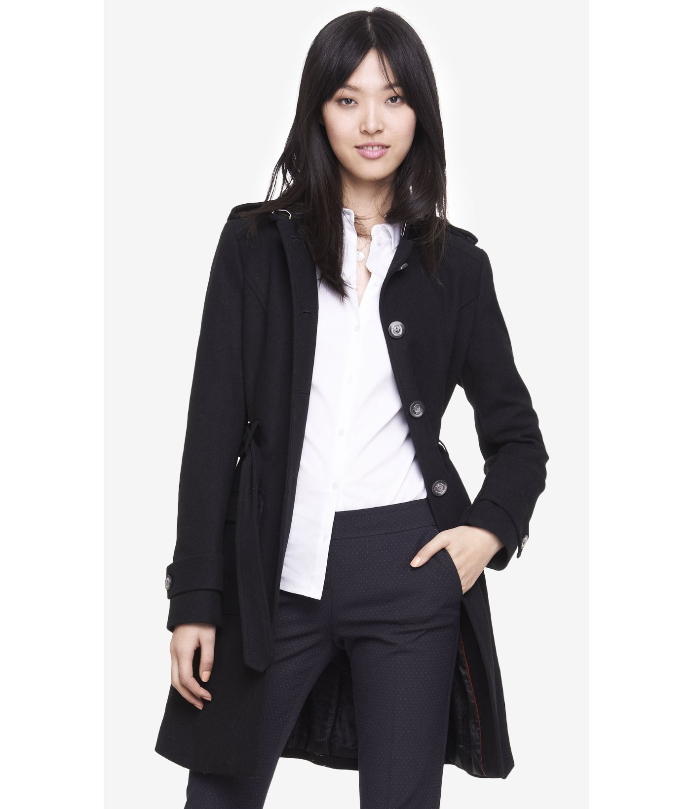 Black Fitted Coat | Down Coat