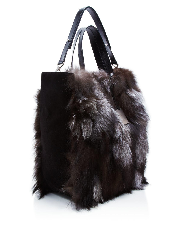 fbeb648a77c9 Michael Kors Addington Extra Large Fur Tote in Metallic - Lyst