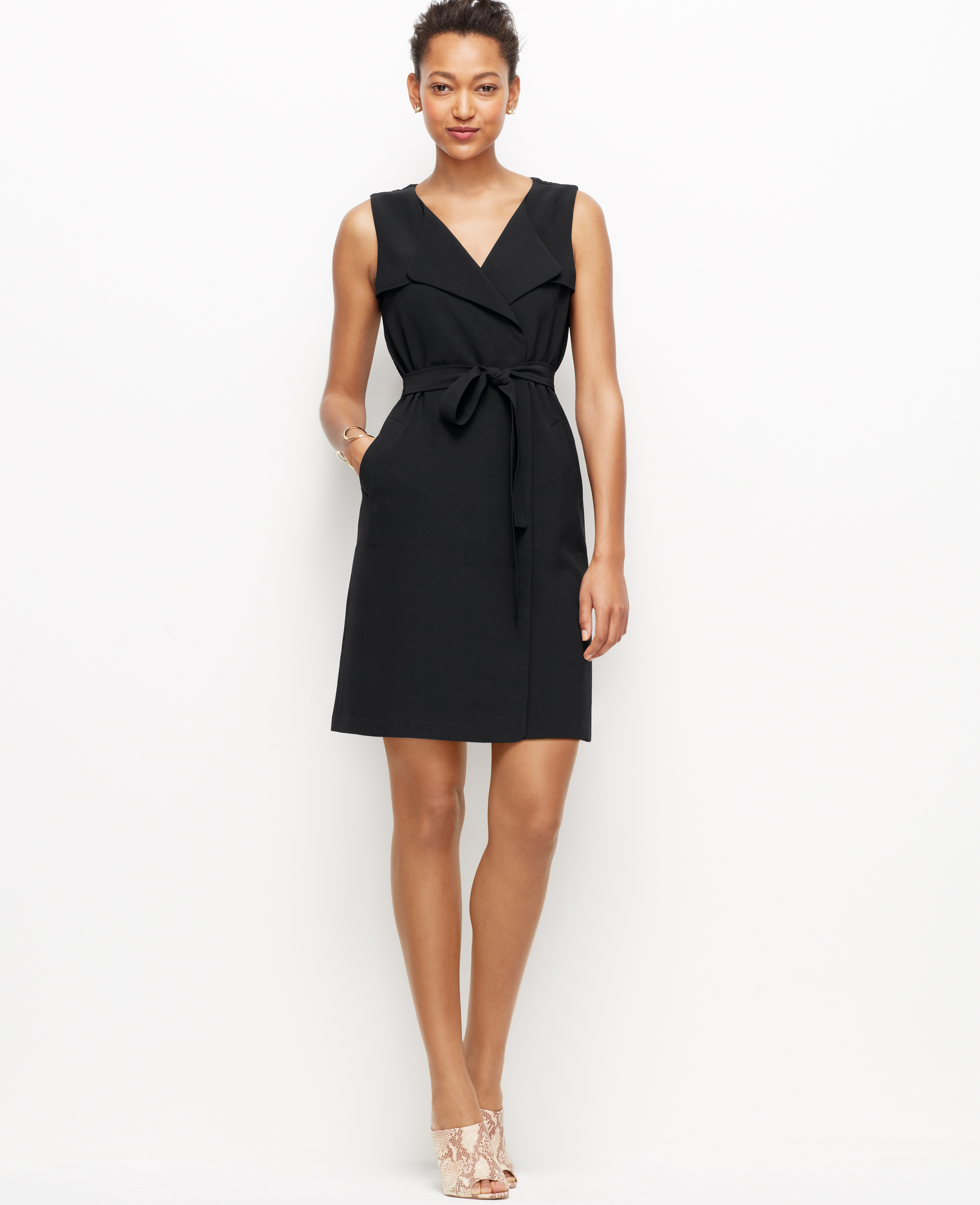 Lyst - Ann Taylor Petite Trench Wrap Dress in Black