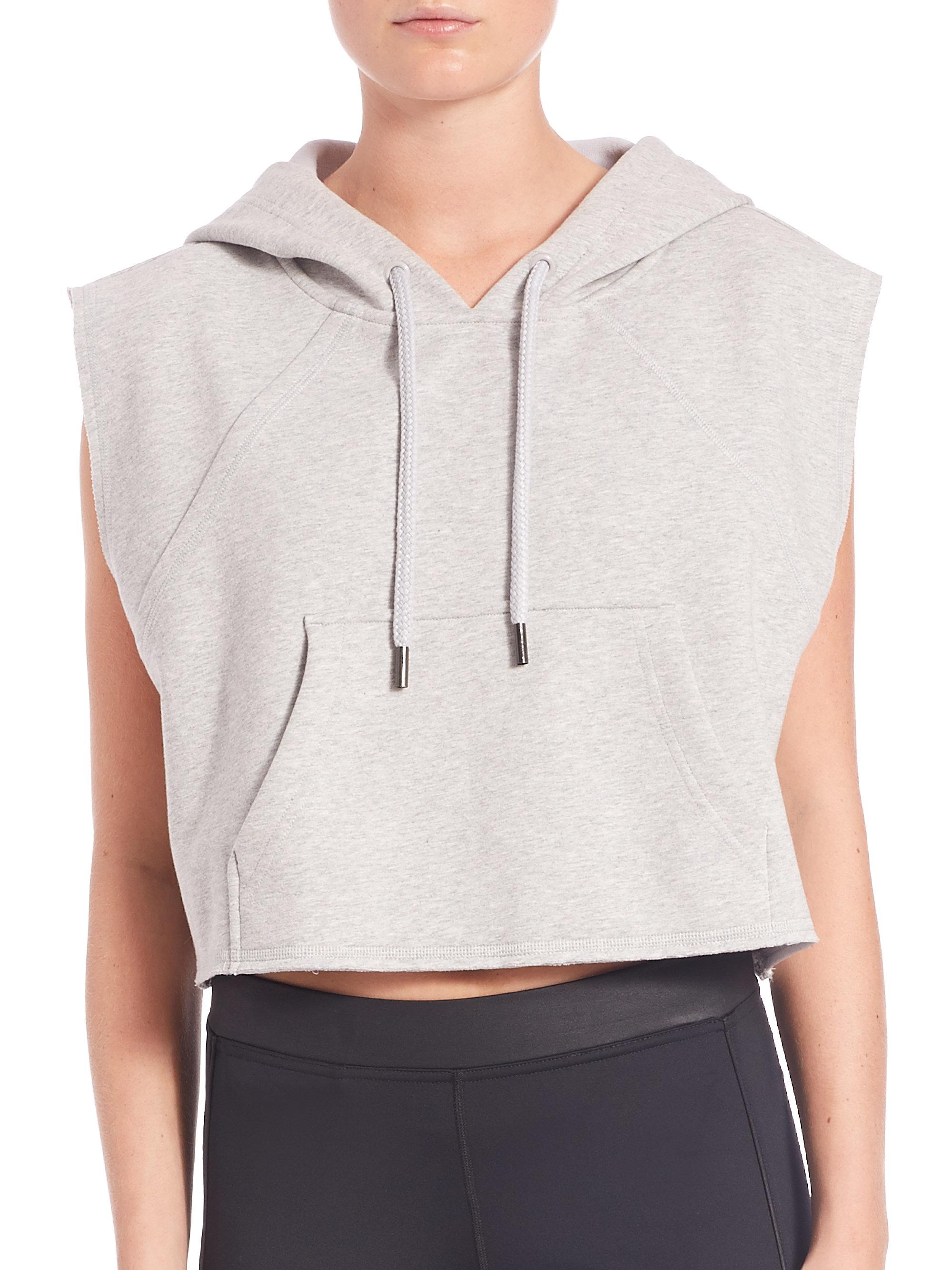 367e62f84cd0 Lyst - adidas By Stella McCartney Cropped Yoga Hoodie in Gray