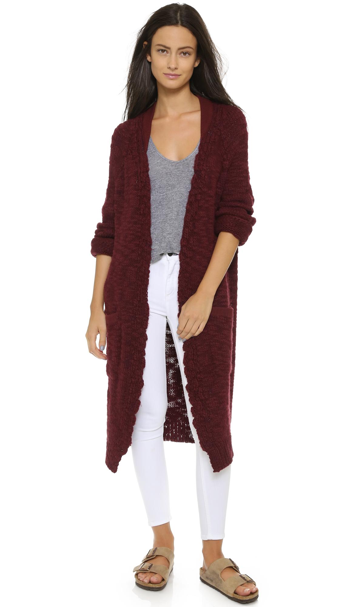 Sea Hand Knit Worn Sweater Coat - Burgundy in Purple   Lyst