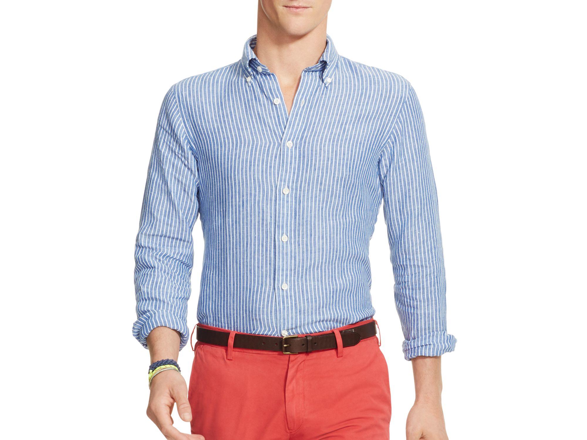 6f2fa57a35 ... usa lyst polo ralph lauren striped linen regular fit button down shirt  eb29d 8fd64