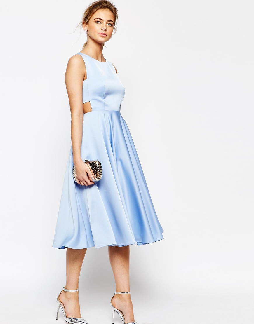 ted baker cut out skirt midi dress in blue lyst