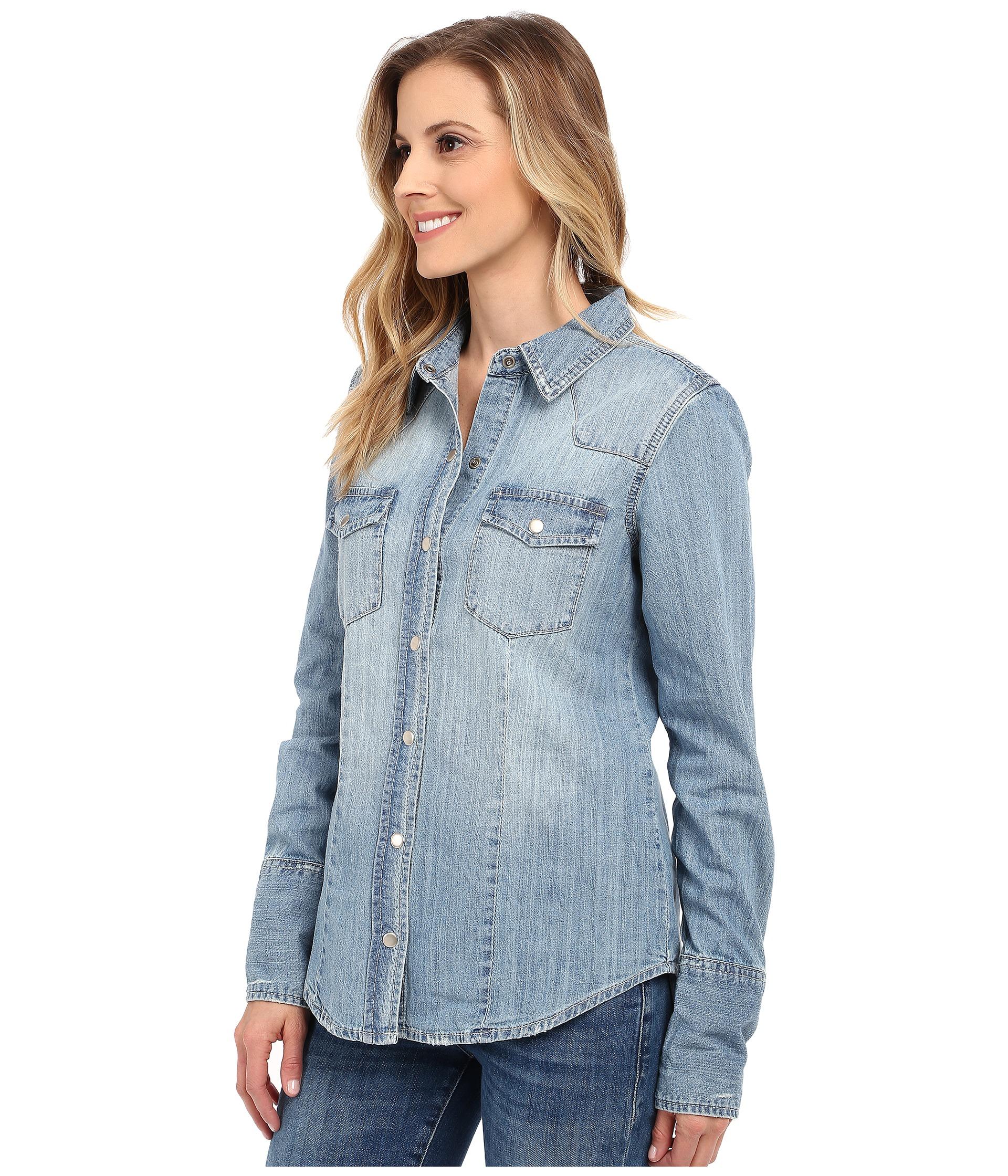 Lyst Stetson Light Blue Denim Long Sleeve Western Shirt