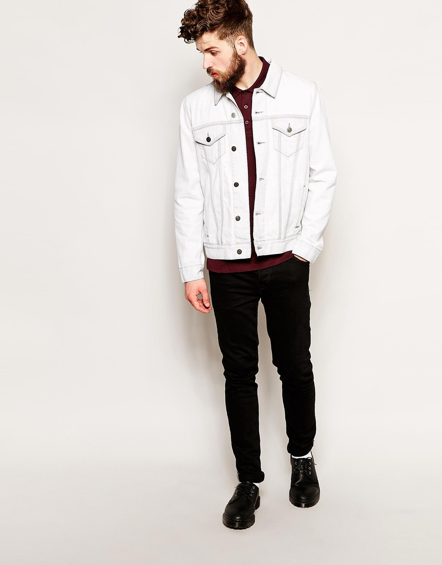 Asos Denim Jacket in White for Men | Lyst