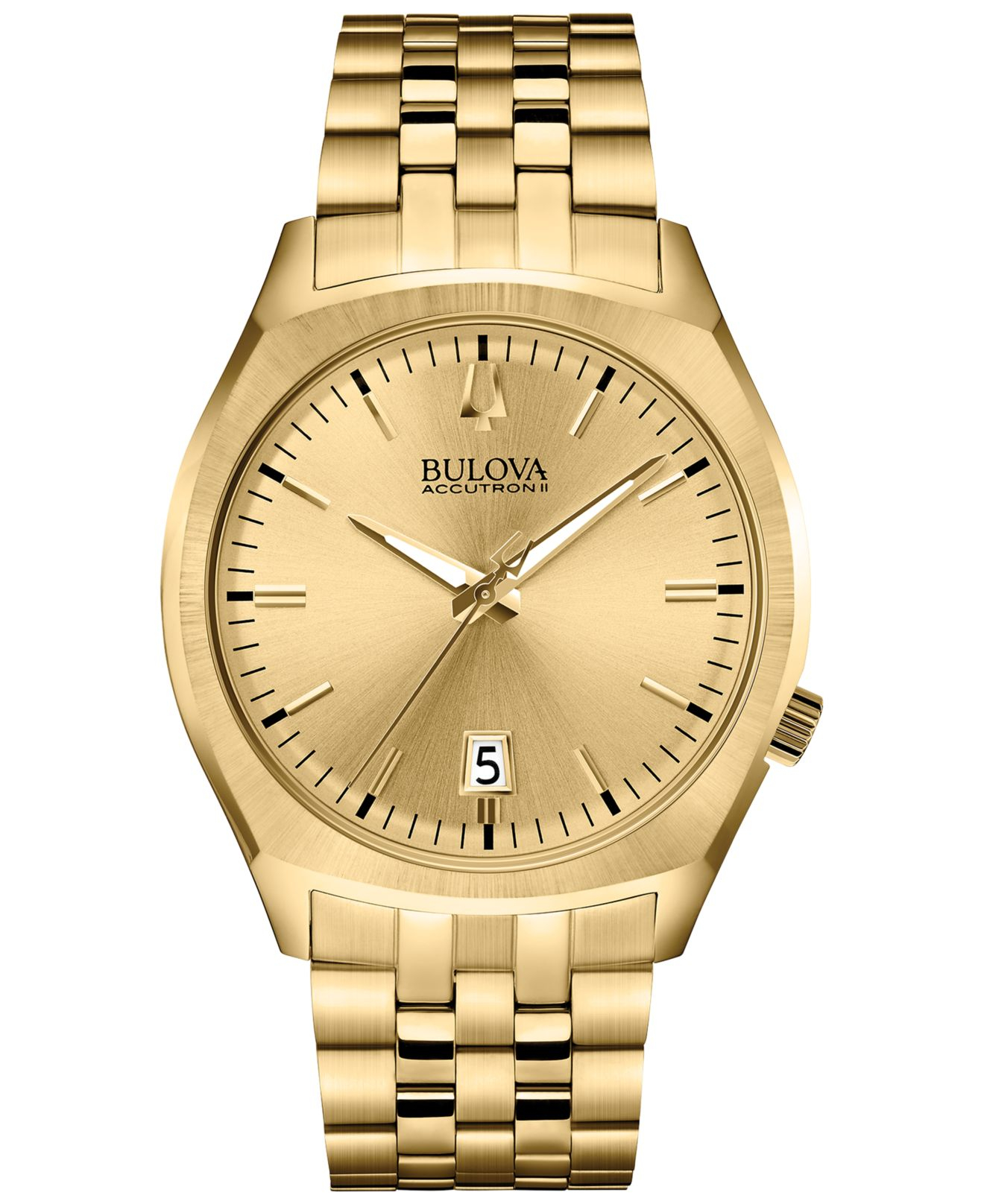 bulova s surveyor gold tone stainless steel bracelet