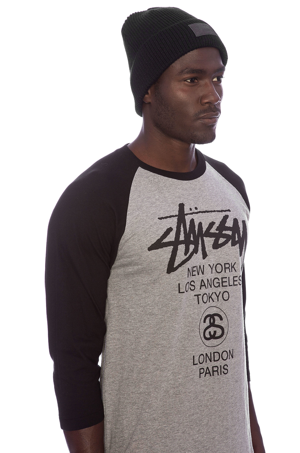 Lyst - Stussy Leather Patch Beanie in Black for Men 71e7e140558e