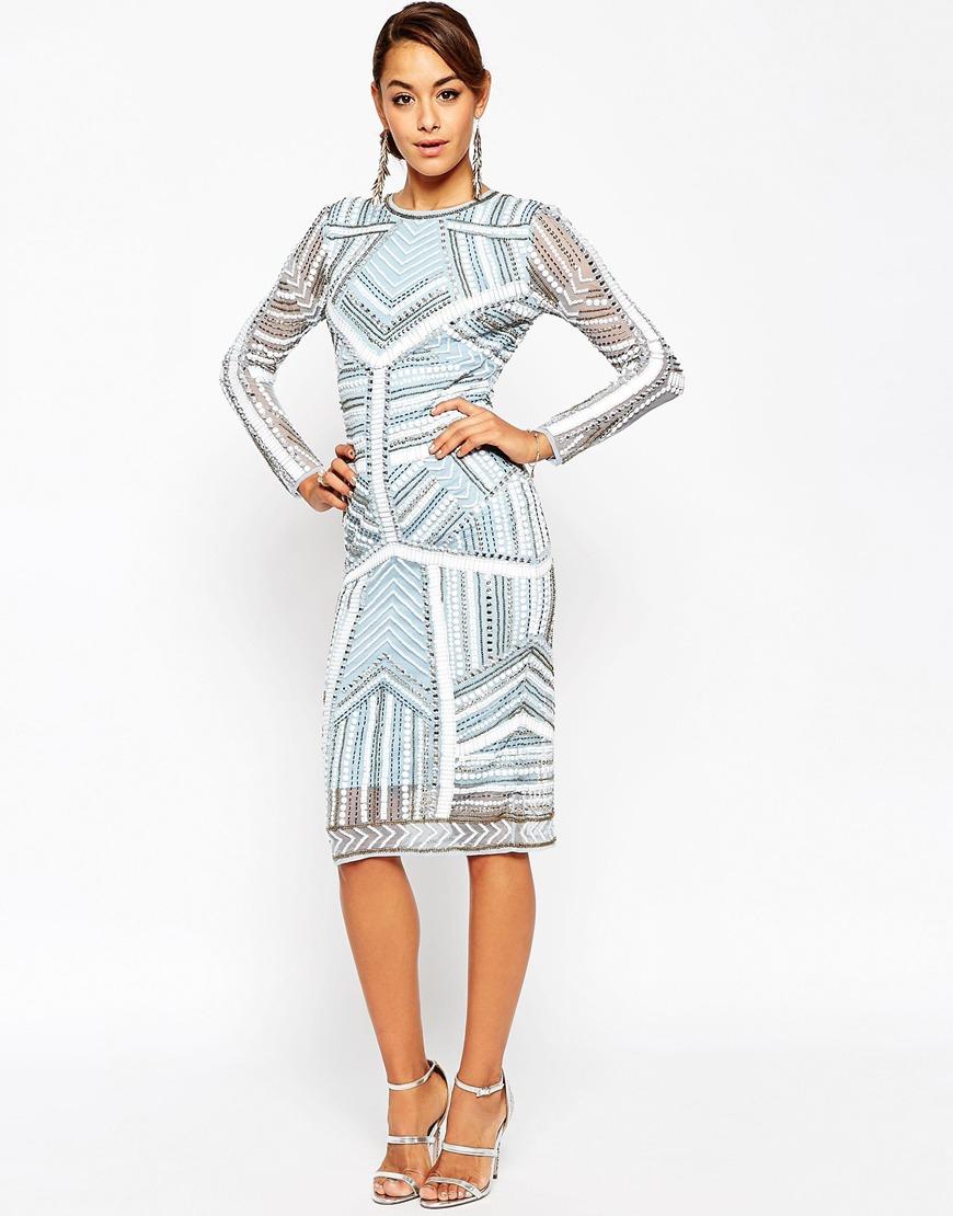 6013f3e0dbb01 Lyst - ASOS Red Carpet Beaded Midi Body-conscious Dress in Blue