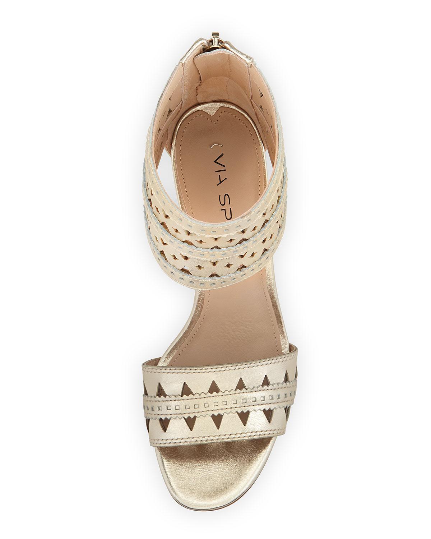 Lyst Via Spiga Laser Cut Ankle Cuff Sandal In Metallic