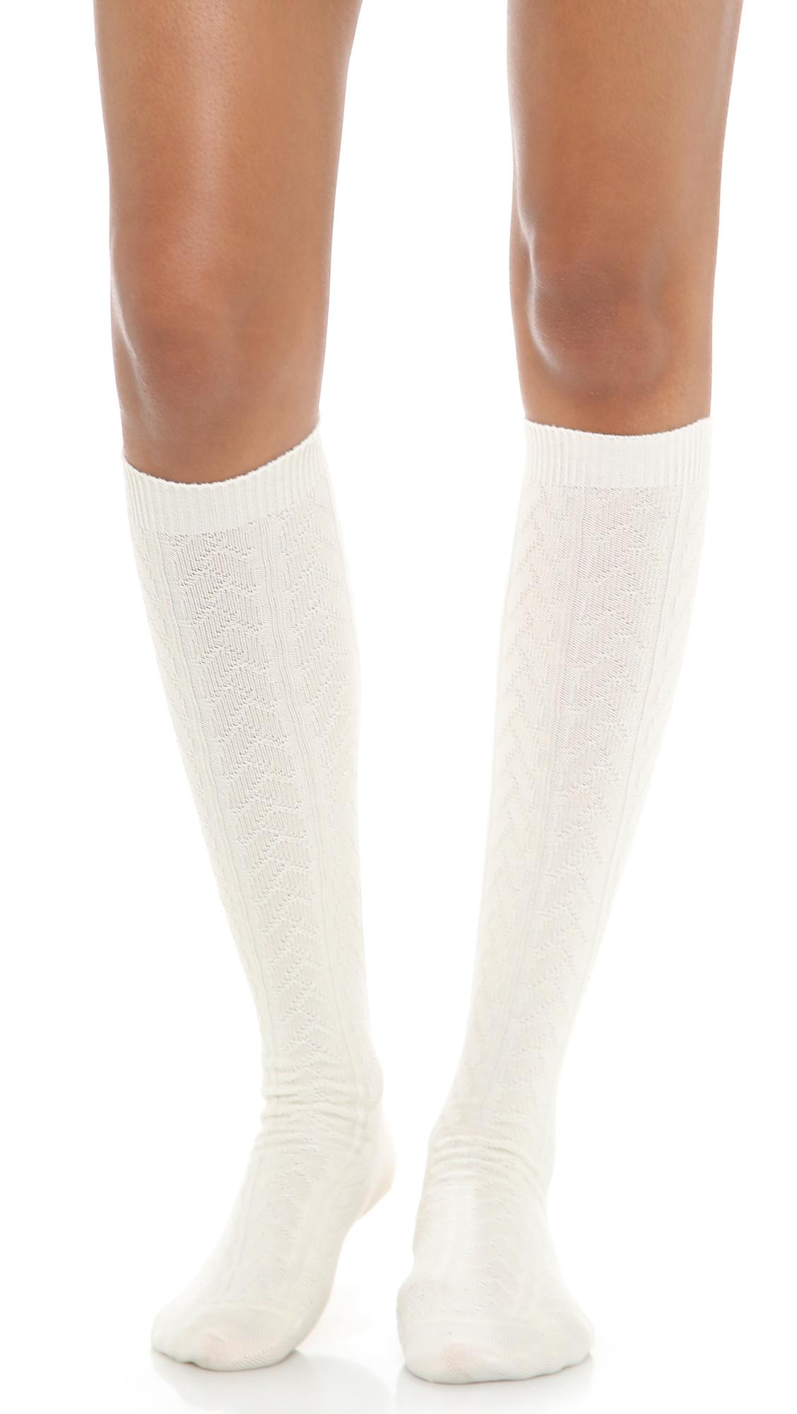 Lyst - Falke Striggings Cable Knit Knee High Socks - Grey in White