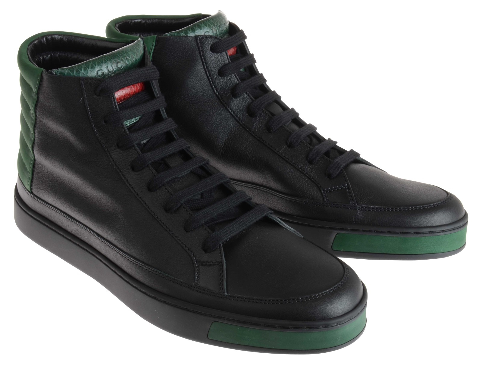 gucci ribbed detail hi top sneakers in black for men lyst. Black Bedroom Furniture Sets. Home Design Ideas