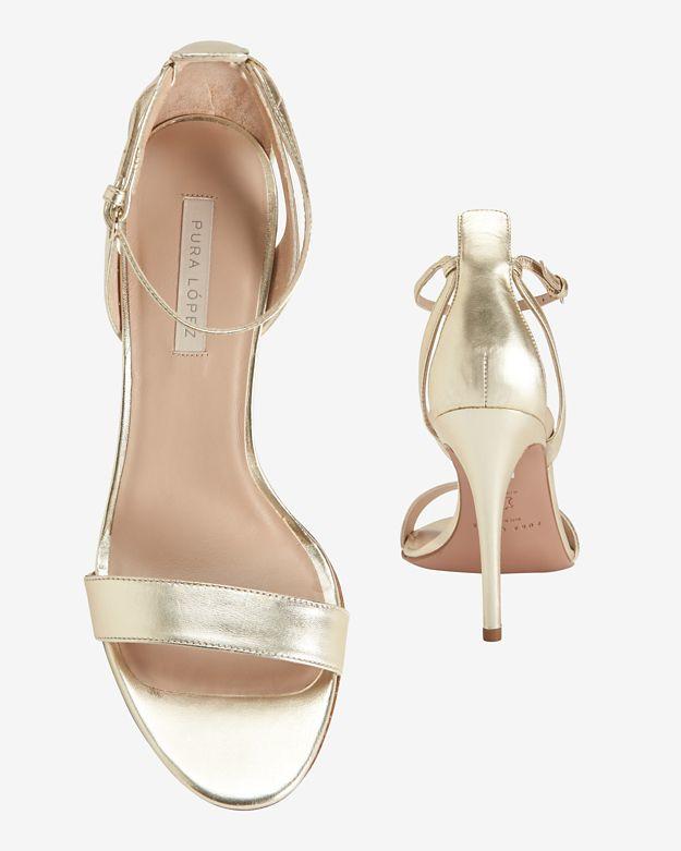 1c0e4b44f2 Pura López Ankle Strap Metallic Sandal in Metallic - Lyst
