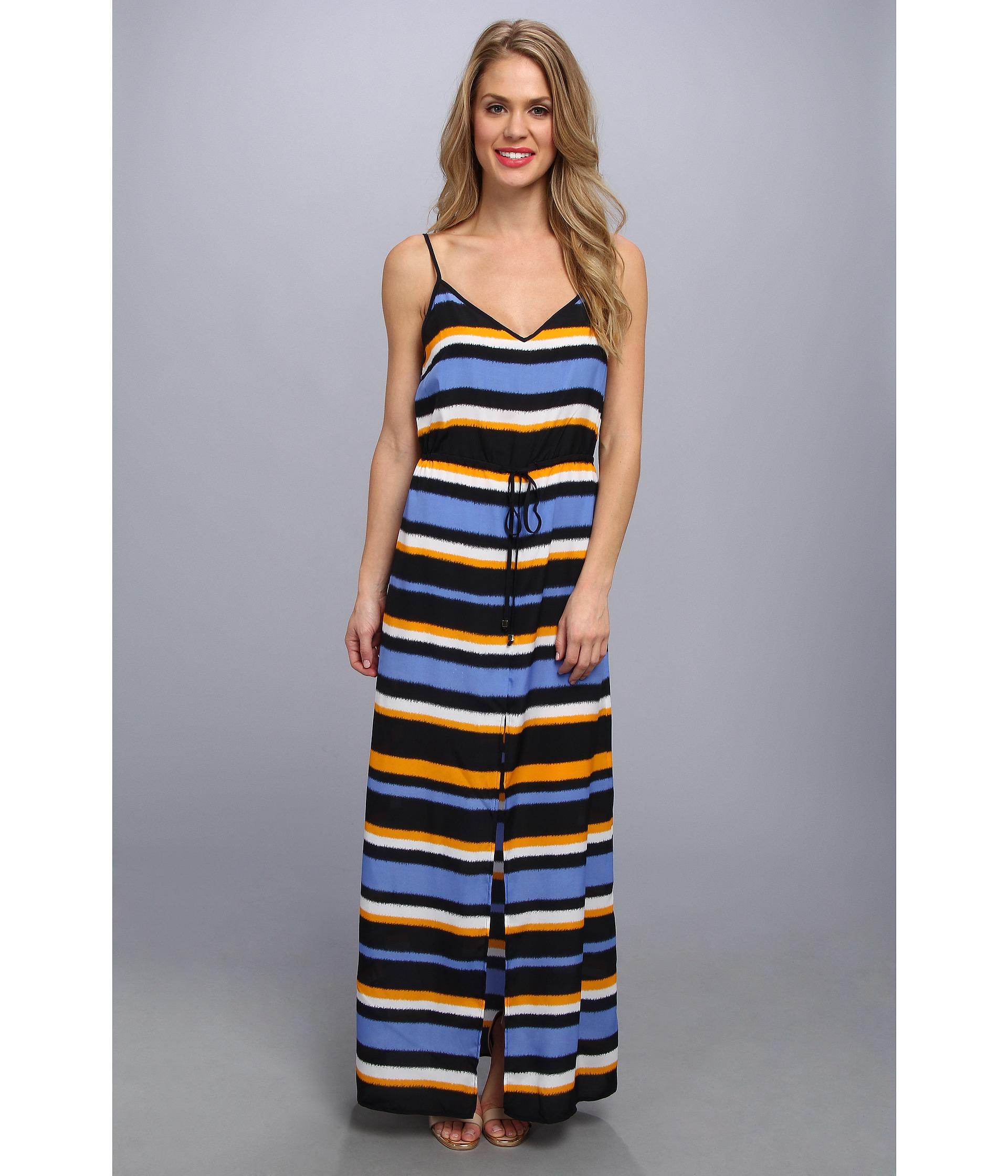 8a30d5a43b5 MICHAEL Michael Kors Striped Front Slit Maxi Dress in Blue - Lyst