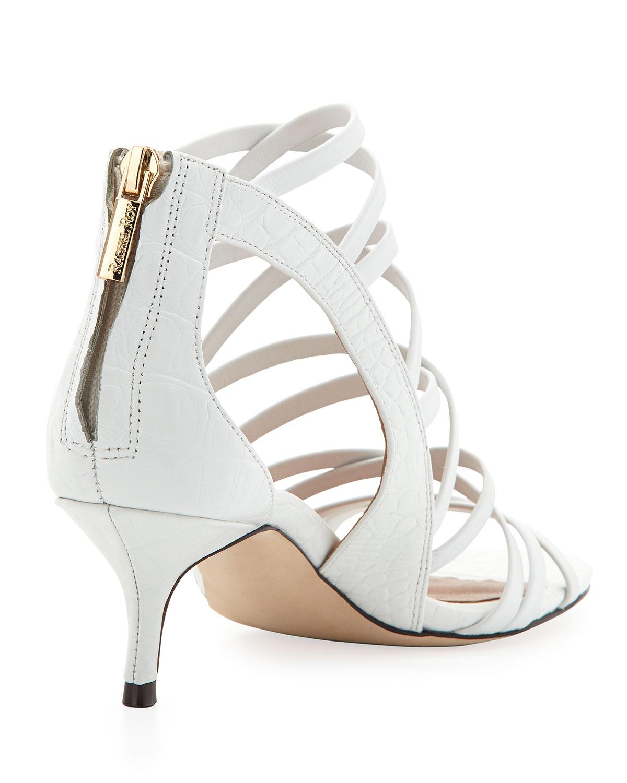 Rachel roy Jayni Crocembossed Kitten Heel Sandal White 6 in White