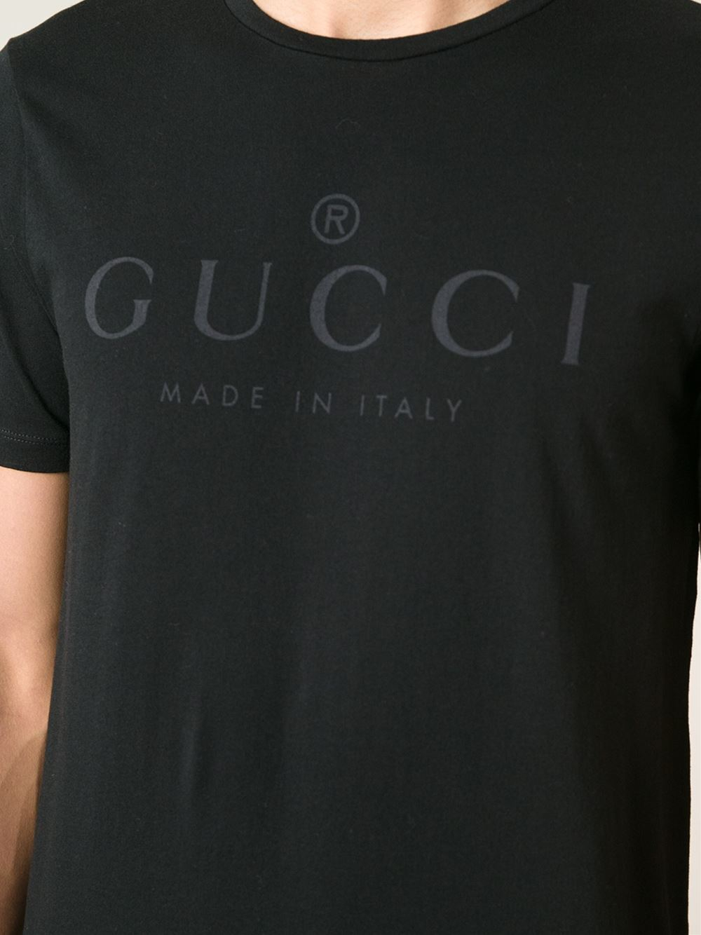 Lyst gucci logo print tshirt in black for men for Tee shirt logo printing