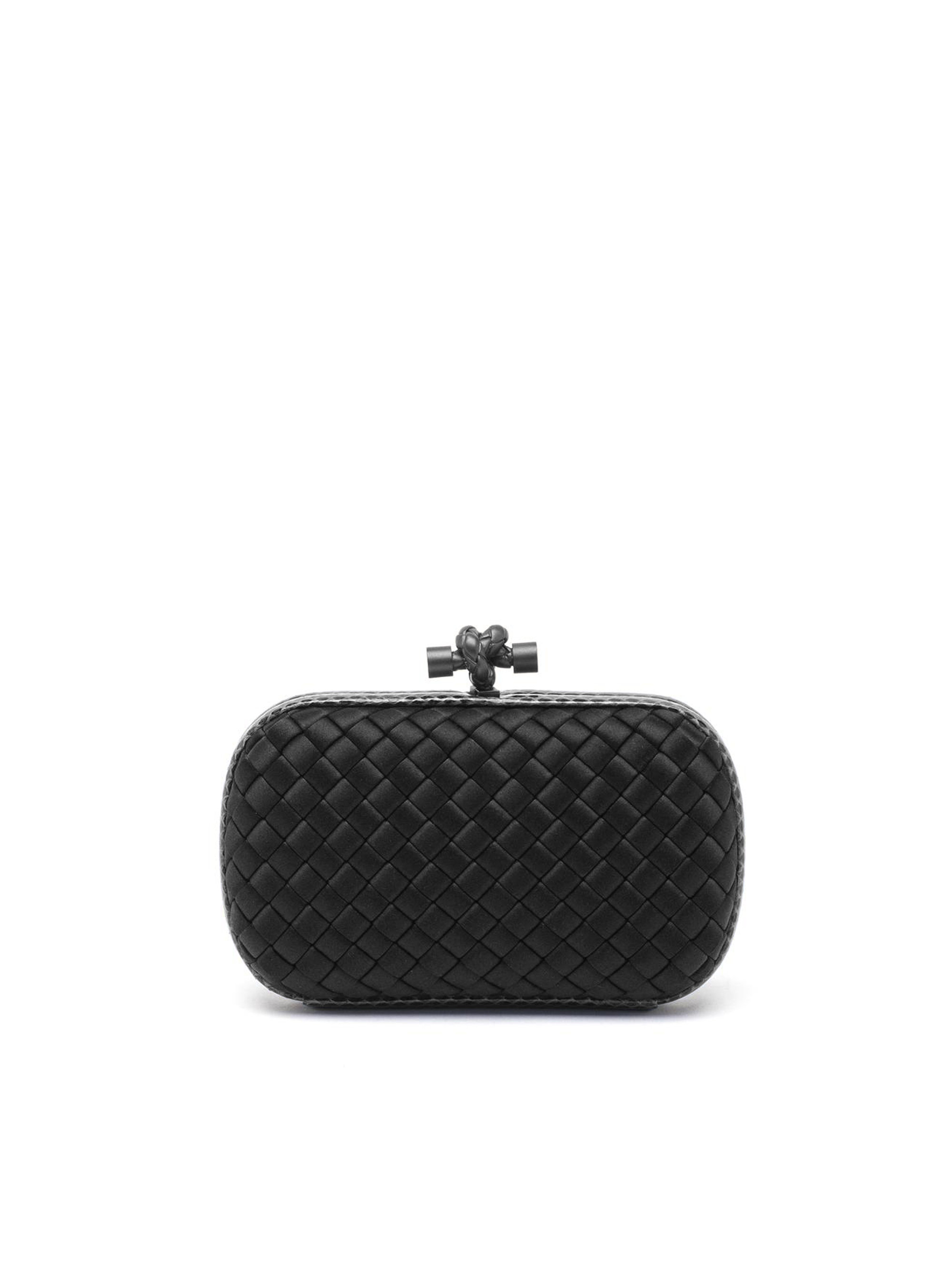 fd11cd9a92ed Bottega veneta Woven Mini Knot Clutch in Black