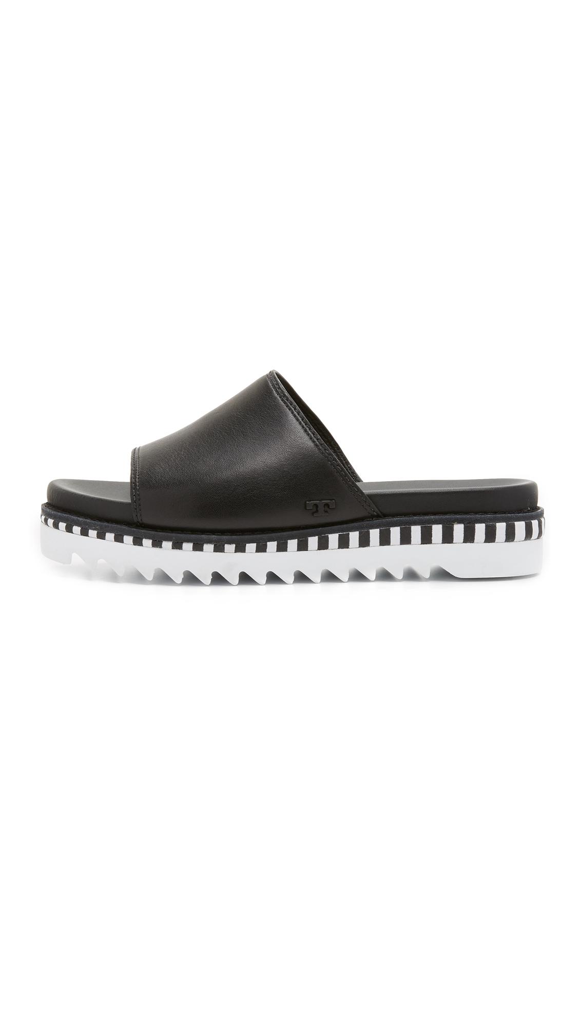 b9055b0d7b1 Lyst - Tory Burch Sawtooth Slide Sandals in Black
