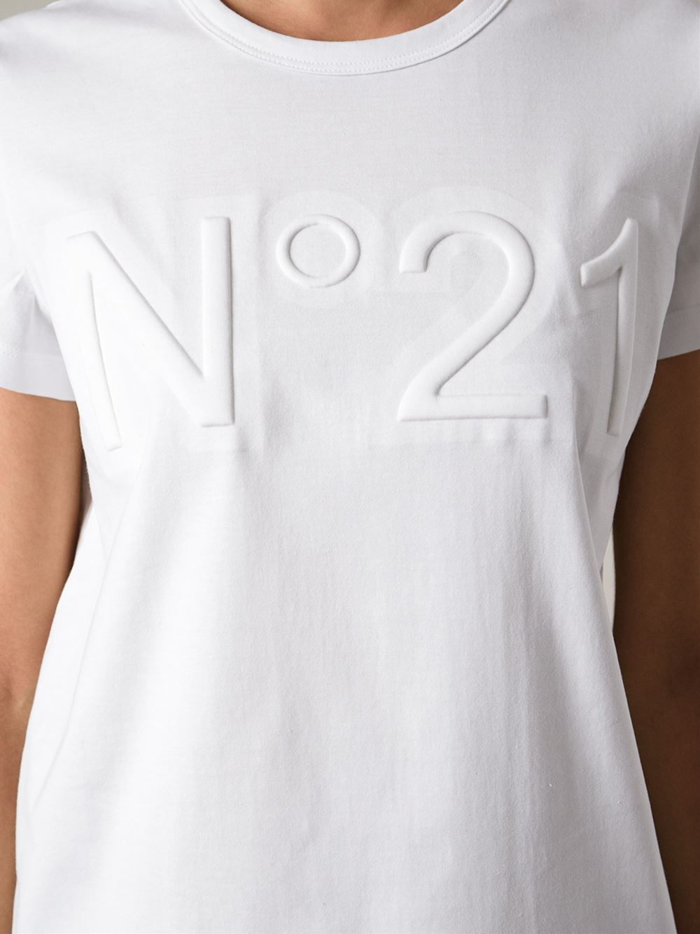 Lyst n 21 logo embossed tshirt in white for Tee shirt logo printing