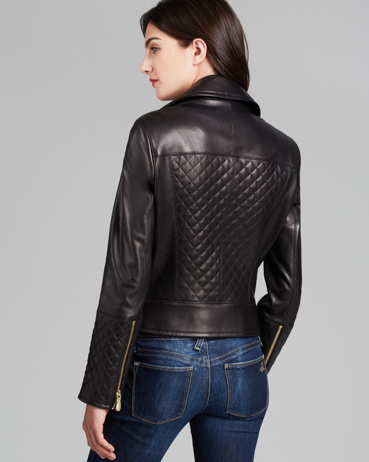 Lyst Calvin Klein Asymmetric Zip Quilted Leather Jacket
