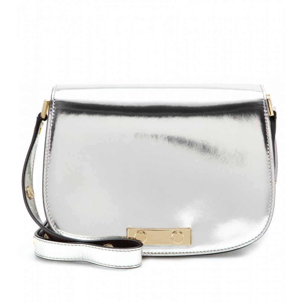 Marni Metallic Leather Shoulder Bag Silverbrown Made In Italyon Gold ...