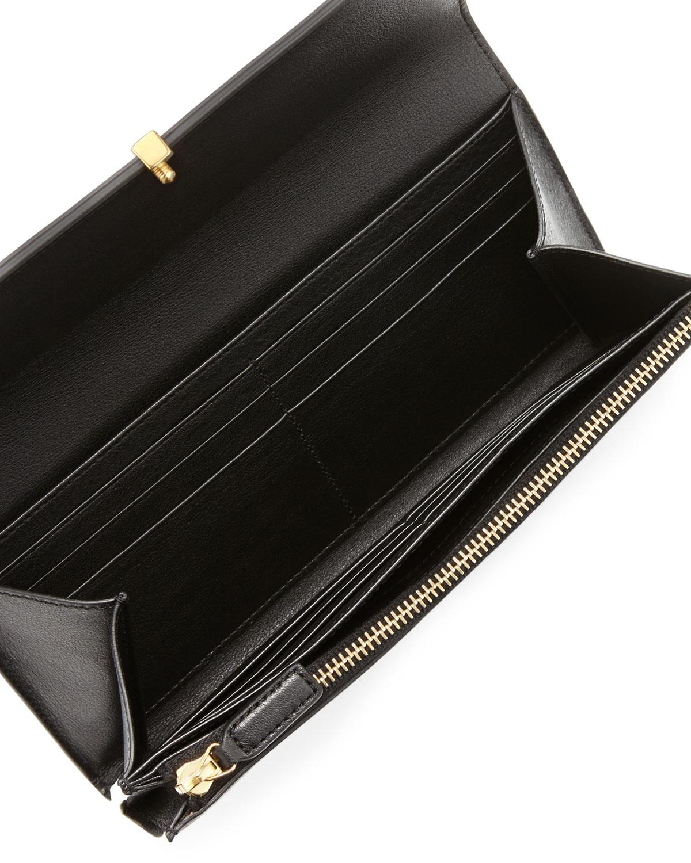 Saint laurent Classic Yligne Large Flap Wallet Black in Black | Lyst